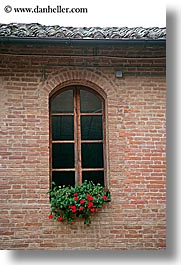 bricks, europe, flowers, italy, monestaries, monte oliveto maggiore, tuscany, vertical, windows, photograph