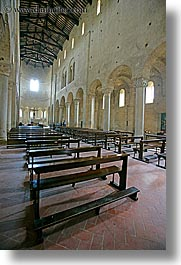 abbey, bricks, chairs, churches, europe, italy, monestaries, pews, religious, sant antimo, tuscany, vertical, windows, photograph