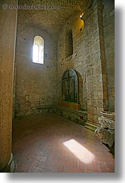 abbey, bricks, churches, corridors, europe, italy, monestaries, religious, sant antimo, tuscany, vertical, windows, photograph