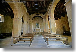 churches, europe, horizontal, italy, monestaries, pews, pieve di st leonardo, tuscany, photograph