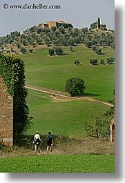 dirt road, europe, hikers, italy, paths, people, scenery, scenics, tuscany, vertical, photograph