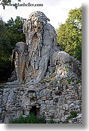 apennine, demidoff park, europe, italy, statues, stones, towns, tuscany, vertical, photograph