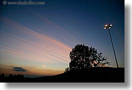 demidoff park, dusk, europe, horizontal, italy, lamp posts, silhouettes, sky, sunsets, towns, trees, tuscany, photograph