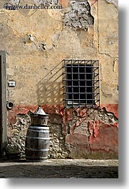 barred, barrels, europe, fattoria lavacchio, italy, towns, tuscany, vertical, windows, photograph