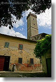 europe, fattoria lavacchio, italy, stones, towers, towns, tuscany, vertical, photograph