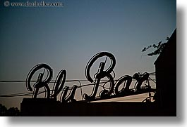blu bar, dusk, europe, fiesole, horizontal, italy, signs, silhouettes, towns, tuscany, photograph