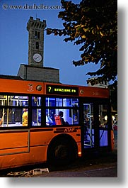 bus, clocks, dusk, europe, fiesole, italy, towers, towns, tuscany, vertical, photograph
