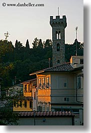 clocks, europe, fiesole, italy, sunsets, towers, towns, tuscany, vertical, photograph