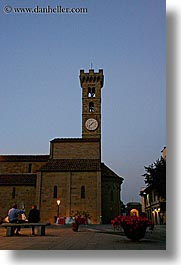 clocks, dusk, europe, fiesole, italy, towers, towns, tuscany, vertical, photograph