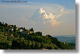 clouds, europe, fiesole, hillside, horizontal, italy, towns, tuscany, photograph