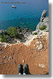 europe, feet, hiking, isola giglio, italy, overlook, scenics, towns, tuscany, vertical, photograph