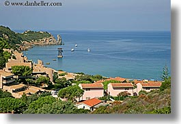 europe, horizontal, houses, isola giglio, italy, lagoon, ocean, towns, tuscany, photograph