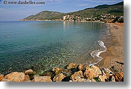 beaches, europe, horizontal, isola giglio, italy, ocean, overlook, scenics, towns, tuscany, photograph