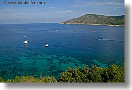 boats, europe, horizontal, isola giglio, italy, ocean, overlook, scenics, towns, tuscany, photograph