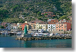 europe, harbor, horizontal, isola giglio, italy, ocean, towns, tuscany, photograph
