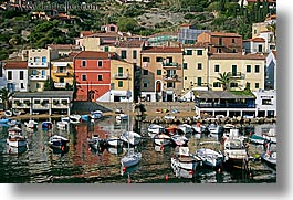 boats, europe, harbor, horizontal, isola giglio, italy, ocean, towns, tuscany, photograph