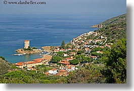 europe, harbor, horizontal, isola giglio, italy, ocean, overlook, towns, tuscany, photograph