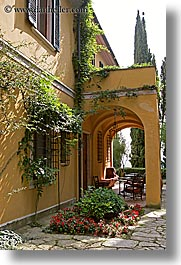archways, europe, hotels, italy, la bandita, patio, towns, tuscany, vertical, villa, photograph