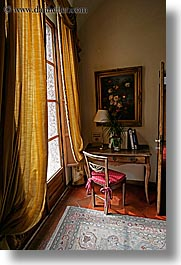 chairs, desks, europe, hotels, italy, la bandita, towns, tuscany, vertical, villa, windows, photograph