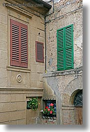 europe, flowers, geraniums, italy, montalcino, towns, tuscany, vertical, windows, photograph