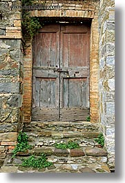 doors, europe, italy, montalcino, stones, towns, tuscany, vertical, woods, photograph