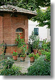bricks, europe, flowers, gardens, geraniums, italy, montalcino, shed, towns, tuscany, vertical, photograph