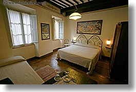 bedrooms, beds, europe, horizontal, hotel albergo giglio, hotels, italy, montalcino, slow exposure, teracotta, towns, tuscany, windows, photograph
