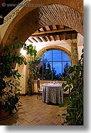 archways, bricks, dining, dining table, dusk, europe, hotel albergo giglio, hotels, italy, long exposure, montalcino, tables, towns, tuscany, vertical, views, windows, photograph