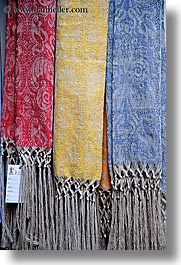 colored, europe, fabrics, italy, linens, montalcino, textiles, towns, tuscany, vertical, photograph