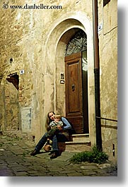 boys, childrens, doorways, europe, italy, jack and jill, montalcino, slow exposure, toddlers, towns, tuscany, vertical, womens, photograph