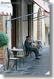cafes, europe, italy, men, montalcino, tables, towns, tuscany, vertical, photograph