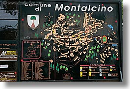 europe, horizontal, italy, map, montalcino, signs, towns, tuscany, photograph