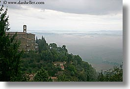 bell towers, europe, horizontal, italy, landscapes, montalcino, scenics, towns, tuscany, photograph