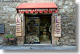 awnings, europe, general, horizontal, italy, montalcino, plants, stores, towns, tuscany, photograph