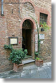 archways, bricks, doors, europe, italy, montalcino, plants, restaurants, stores, towns, tuscany, vertical, photograph