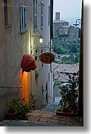 awnings, europe, italy, montalcino, plants, restaurants, slow exposure, stores, towns, tuscany, vertical, photograph