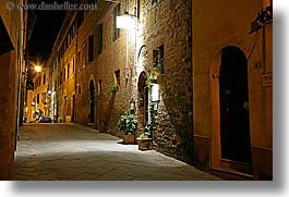archways, doors, europe, horizontal, italy, long exposure, montalcino, nite, plants, restaurants, stores, towns, tuscany, photograph