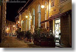 europe, horizontal, italy, long exposure, montalcino, nite, plants, stores, towns, tuscany, photograph