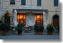 awnings, europe, horizontal, italy, montalcino, plants, slow exposure, stores, towns, tuscany, wines, photograph