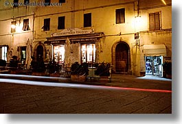 archways, doors, europe, horizontal, italy, light streaks, long exposure, montalcino, nite, stores, towns, tuscany, wines, photograph