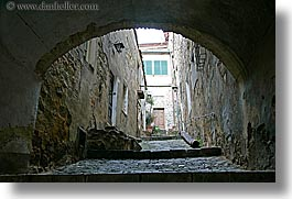 arches, archways, cobblestones, europe, horizontal, italy, montalcino, narrow, streets, towns, tuscany, photograph