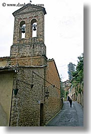 bell towers, bricks, cobblestones, europe, italy, montalcino, streets, towns, tuscany, vertical, photograph