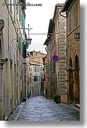 cobblestones, empty, europe, italy, montalcino, streets, towns, tuscany, vertical, photograph