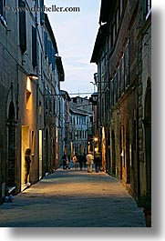 cobblestones, europe, italy, montalcino, nite, people, slow exposure, streets, towns, tuscany, vertical, walking, photograph
