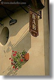 bars, europe, flowers, italy, pienza, plants, signs, towns, tuscany, vertical, photograph