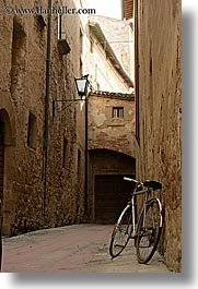 alleys, bicycles, europe, italy, pienza, towns, tuscany, vertical, photograph