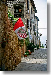 alleys, casini, europe, flags, italy, pienza, signs, towns, tuscany, vertical, photograph