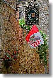 casini, europe, flags, italy, pienza, signs, towns, tuscany, vertical, photograph