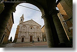 archways, churches, cloisters, europe, horizontal, italy, pienza, pillars, religious, towns, tuscany, photograph