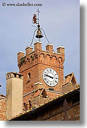 bell towers, bells, clock tower, clocks, europe, italy, pienza, towns, tuscany, vertical, photograph